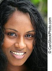 retrato, de, um, multicultural, mulher