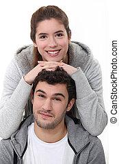 retrato, de, um, par jovem