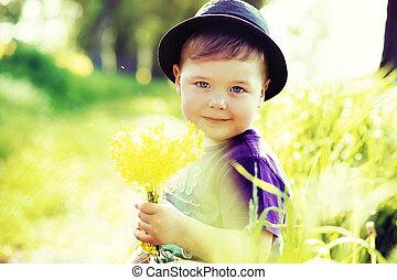 retrato, de, um, pequeno, cute, criança