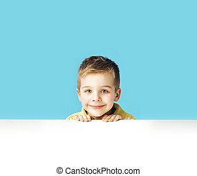 retrato, de, um, pequeno, cute, menino