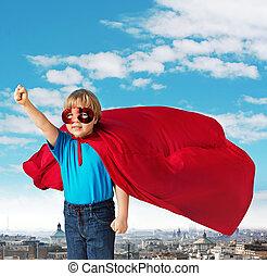 retrato, de, um, pequeno, superhero