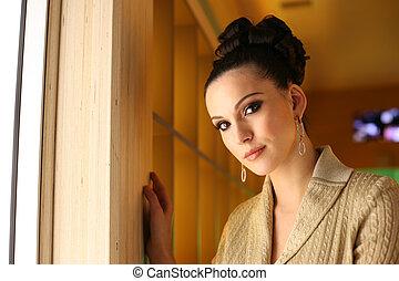 retrato, de, um, quadril, bonito, jovem, woman., raso, dof.