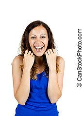 retrato, de, um, rir, mulher jovem