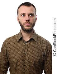 retrato, de, um, sério, homem, com, barba, isolado