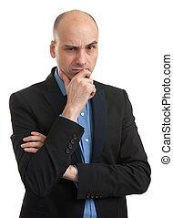 retrato, de, um, sério, homem negócios