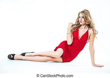 retrato, de, um, senhora, desgastar, um, vestido vermelho, -, isolado