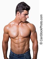 retrato, de, um, shirtless, muscular, homem