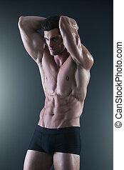 retrato, de, um, shirtless, muscular, homem, em, roupa interior