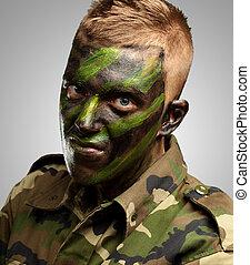 retrato, de, um, soldado, com, camuflagem, quadro