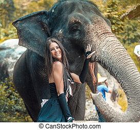 retrato, de, um, sorrindo, treinador, com, um, elefante