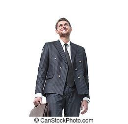 retrato, de, um, sucedido, advogado, isolado, branco, fundo