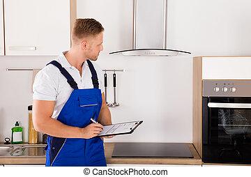 retrato, de, um, técnico, em, cozinha