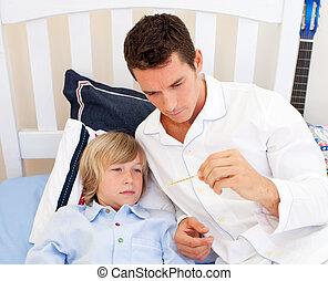 retrato, de, un, atractivo, padre, verificar, el suyo, son\'s, temperatura, en el dormitorio