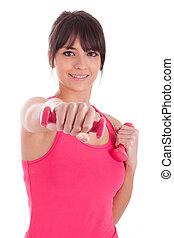 retrato, de, un, condición física, mujer que trabaja fuera, con, pesas libres