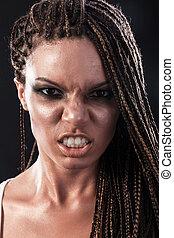 retrato, de, un, enojado, mujer americana africana, con,...