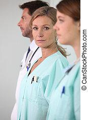 retrato, de, un, equipo médico