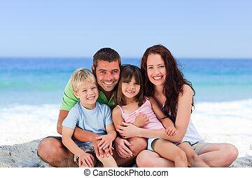 retrato, de, un, familia , en la playa