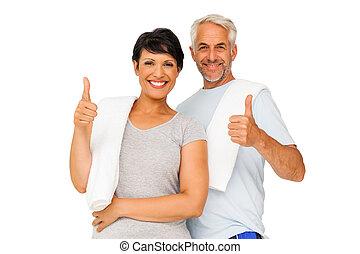 retrato, de, un, feliz, ataque, pareja, el gesticular, pulgares arriba