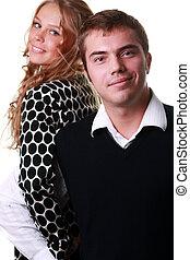 retrato, de, un, feliz, pareja joven
