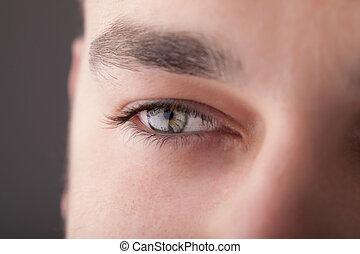retrato, de, un, guapo, hombre, cicatrizarse, ojo