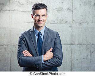 retrato, de, un, guapo, hombre de negocios