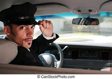 retrato, de, un, guapo, macho, chófer, se sentar en un...
