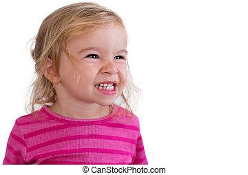 retrato, de, un, hermoso, dentudo, sonriente, bebé