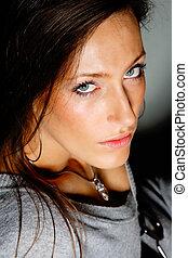 retrato, de, un, hermoso, mujer joven