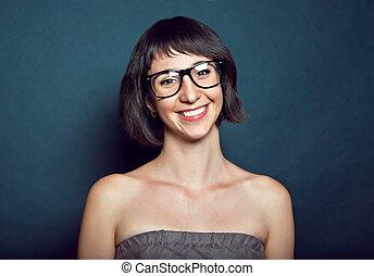 retrato, de, un, hermoso, niña joven, en, anteojos