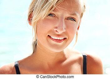 retrato, de, un, hermoso, rubio, dama, sonriente