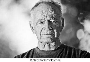 retrato, de, un, hombre mayor
