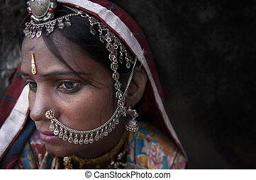 retrato, de, un, india, rajasthani, mujer