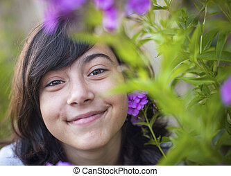 retrato, de, un, joven, dulce, niña, en, el, garden.