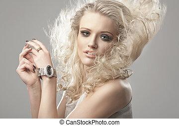 retrato, de, un, lindo, blondie