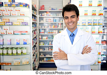 retrato, de, un, macho, farmacéutico, en, farmacia