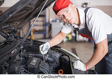retrato, de, un, mecánico auto