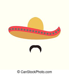 retrato, de, un, mexicano, hombre, en, sombrero.