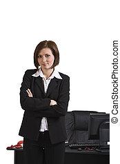 retrato, de, un, mujer de negocios