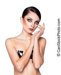retrato, de, un, mujer hermosa, con, un, encantador, retro, maquillaje