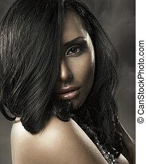 retrato, de, un, mujer hermosa