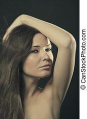 retrato, de, un, mujer joven