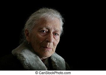 retrato, de, un, mujer mayor, contemplating., aislado, en,...