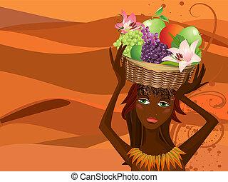 retrato, de, un, nativo, con, un, canasta con frutas