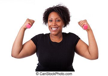 retrato, de, un, negro, gordinflón, mujer que trabaja fuera, con, pesas libres, -, africano, gente, blanco, plano de fondo