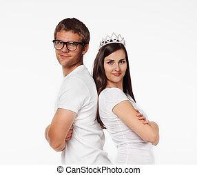 retrato, de, un, pareja joven, en, estudio