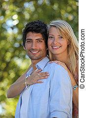 retrato, de, un, pareja joven