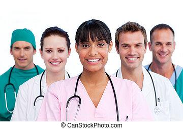 retrato, de, un, perentorio, equipo médico