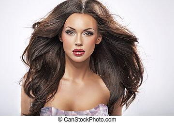 retrato, de, un, perfecto, belleza femenina