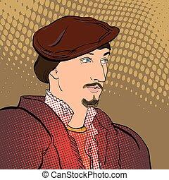 retrato, de, un, seigneur., medieval, retrato, de, un,...