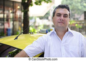retrato, de, un, taxista, con, taxi